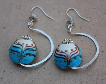 Handmade Dangle Wire Earrings,  Aluminum Wire Earrings,  Lampwork Glass Bead Wire  Earrings,  Unique  HandMade Aluminum Wire Earrings