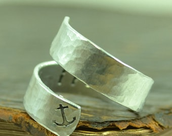 Anchor ring / I refuse to sink / Customizable Jewelry / Quote ring / Personalized Ring / Promise Ring / Stocking Stuffer / Unique Gift Ideas