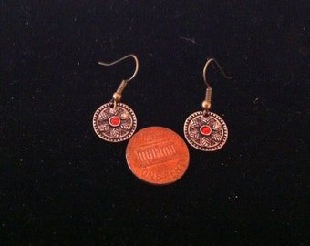 Copper Color and Red Gem Circular Earrings, Red Earrings, Ready to Ship, Small Circular Red Gem Earrings