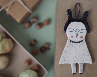 My Friend - Rabbit - Ceramics Hanging Decor- Wall Hanging Decoration - Ceramics - Tile - Clay Plate - Ready to ship