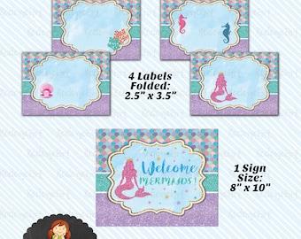 Digital Printable Mermaid Food Label/ Table Tent. Mermaid Birthday Sign - Instant Download