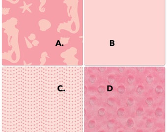 Mermaid Crib Bedding in Coral Blush Pink Seashells Seahorse Made to Order