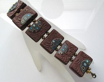 Brown Tile Bracelet, Polymer Clay Bracelet, Handmade Bracelet, Jewelry, Textured Bracelet, Tile Bracelet, Gustav Klimt, Gift for Her, Mom