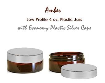 3 AMBER Low Profile 4 oz. Plastic Beauty Cream Jars with Economy Plastic SHINY Silver Caps BPA-Free Sugar Scrub, Body Butter, Face Cream