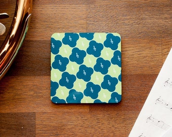 Treble Clef Quatrefoil Music Coaster in Blue and Green
