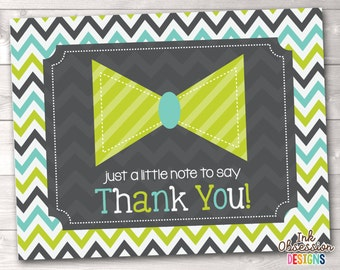 Printable Little Man Thank You Card Design Boys Bowtie Thank You Card INSTANT DOWNLOAD