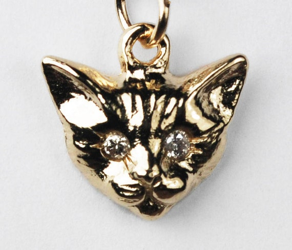 Yellow Gold Kitty Cat Charm with White Diamond Eyes