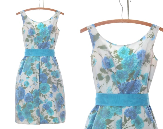 Blue Floral 1950s Dress Vintage XS S | Sheer Overlay Watercolor Flowers | Pastel Aqua Blue Teacup Dress 4CC