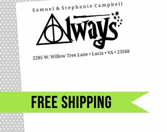 Custom Return Address Stamp-Self Inking-Personalized Stamp-Harry Potter-Rubber Stamp-Always-Deathly Hallows-Wizard-Wand