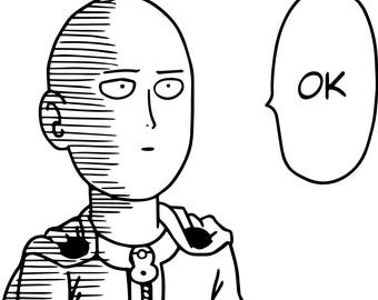 Saitama Decal, One Punch Man Decal, OK One Punch, Saitama