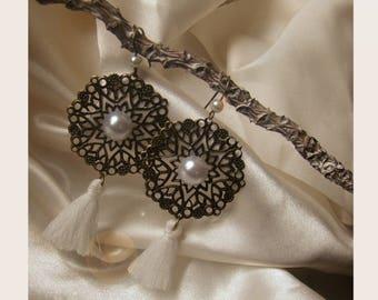 bronze filigree rose earrings