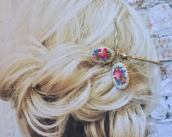 Decorative Pink Hair Pins Flowers Folk Embroidery Austrian Hairpins Bobby Pins