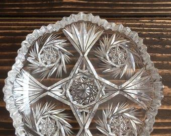 Chic 1950's crystal jewelry dish