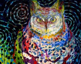"""Modern Owl Art - """"Owl Under a Starry Night"""" - Fine Art Print by Jenlo"""