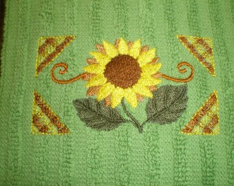 Sunflower Embroidery Country Kitchen Towel Home Decoration Gift Idea for Her Bridal Shower Housewarming Gift