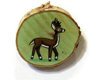 Buck Tiny Painting - Original Wall Art Acrylic on Birch Wood Chip Miniature Painting by Karen Watkins - Deer Artwork