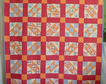 Vintage Quilt, Upcycle Quilt, Patchwork Quilt, Handmade Twin Size Quilt, Traditional Jacob's Ladder