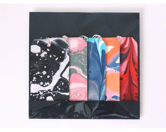ON SALE Set of 5 Medium Marbled Gift Tags, Labels Hand Marbled in Beautiful Colours. For Presents Labelling or as Gifts