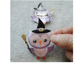 Owl - Witch - Purple - Halloween - Pin Brooch - Seasonal Jewlery