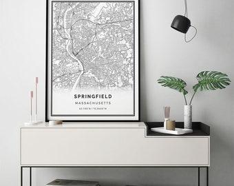 Springfield map print | Scandinavian wall art poster | City maps Artwork | Massachusetts gifts | Print Poster | M165
