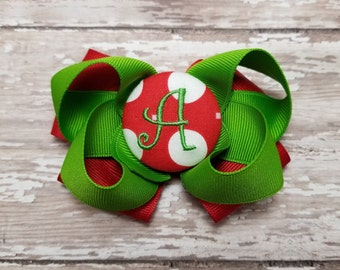 "Initial letter ""A"" monogram hair bow You choose the color"