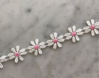 Pink and White Daisy Flower Choker Necklace