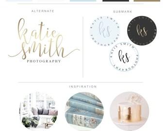 Branding Package - Blue Gold Minimalist Logo Design - Modern Photography Logo Watermark - Fashion Blog Boutique Graphic Premade Branding Kit