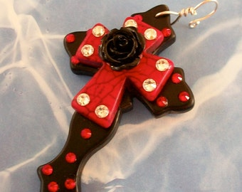 CROSS Black Stone Curvy with Red Cross, Black Acrylic Rose and Bling