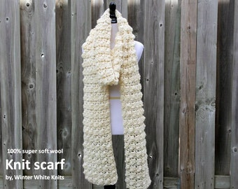 LONG WOOL SCARF, Knit scarf, soft textured winter scarf, 100% soft wool, blanket scarf, winter shawl, chunky winter scarf, soft & cozy scarf