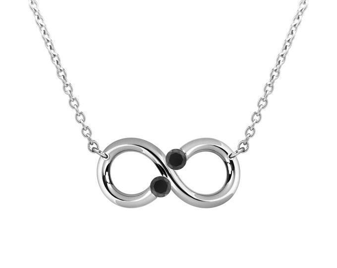 Taormina Infinity Necklace Black Onyx Tension Set Steel Stainless