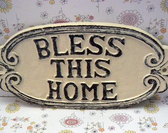 Bless This Home Oval Cast Iron Welcome Greeting Sign Cream Off White Wall Entryway Door Plaque Shabby Elegance New House Warming Gift