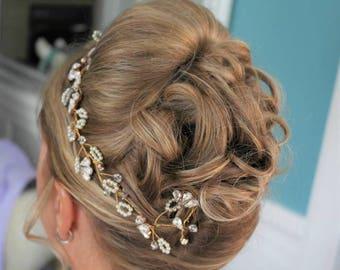Bridal headpiece, bridal hair accessories, rose gold, hair vine, hair jewellery, wedding, organic, boho