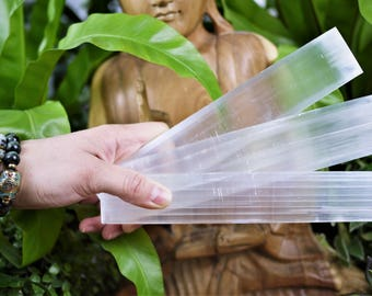 Smooth Selenite Charge Plates, Slice Slab Polished Rectangle Selene Peace Mental Clear Heal Crystal Stone Cleanse Moon White Essential Shiny