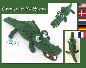 Amigurumi Pattern Crochet, Alligator, Amigurumi Animal, Crocodile Crochet Pattern, CP-132