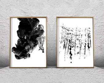 Black White Wall Art Abstract Prints Set Of 2 Ink Spill Paint Splatter  Watercolor Paintings Printable Art Boho Decor Minimalist Art Gray