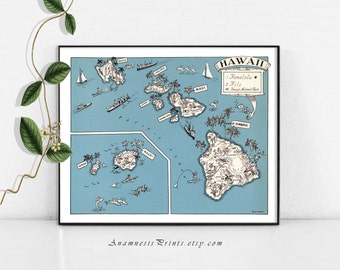 HAWAII MAP PRINT - size & color choices - personalize it - fun vintage map to frame - perfect gift for many occasions - Hawaii home decor