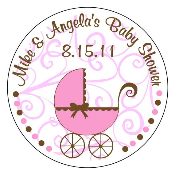 Items similar to personalized baby shower stickers baby girl stickers pink and brown baby shower stickers pink swirls baby shower on etsy