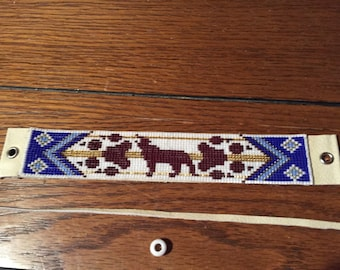 Wolf totem, Blue and gold, Native American, Loom Glass Beaded, Leather Bracelet - Men's or Women's