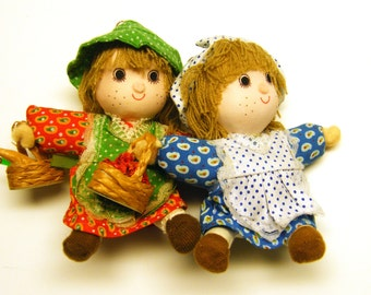Vintage Holiday Doll Soft Ornaments (2) 1983