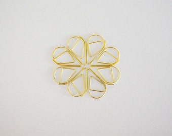Gold Tear Drop Shape Paper Clips - 10 pcs