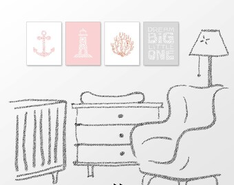 Nautical nursery print, anchor, lighthouse, coral pink , girls room decor, digital image set x61 380 p91