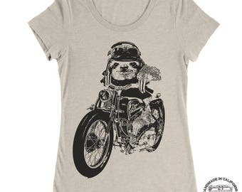 Womens Moto SLOTH Lightweight Tri Blend t shirt [+Colors] S M L XL XXL Hand Screen Printed custom