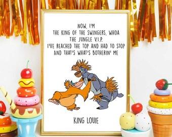 Jungle Book Print, Disney Quotes, Baloo and King Louie, Jungle Book Song, Nursery Decor, Baloo Printable, Disney Song