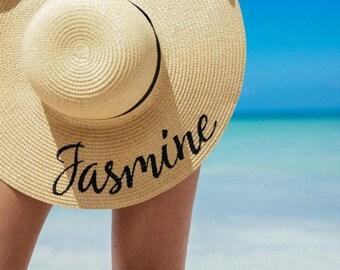 "CUSTOM ""YOUR NAME"" 5 inch brim floppy beach hat, ladies sun hats, honeymoon hat, bachelorette party, girls weekend"