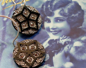 Star Brite BUTTON earrings, Antique Victorian glass on sterling silver. One of a kind jewellery.