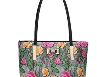 Statement faux leather floral tapestry gold bow tote bag with detachable strap black