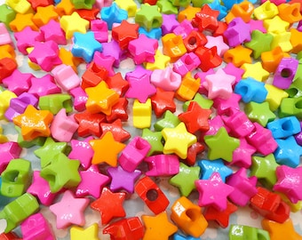 50 pcs mixed color plastic star bead with hole