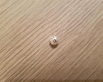 Pierced silver, 6 mm bead