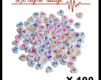 100 Acrylic beads heart white letter color at random 11 x 11mm, hole: 2mm