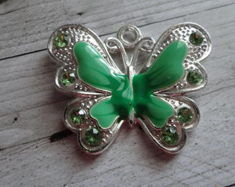 Large butterfly, silver, enameled, 29.5x34.5 mm Green charm